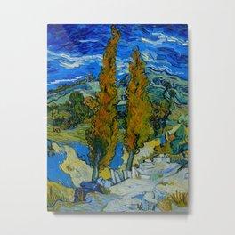 Vincent Van Gogh Beautiful Night Oil Painting Poplars at Saint-Rémy, October 1889 Landscape Metal Print