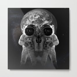 Skull Look Astronaut Suit The Earth Universe Outer Space Travel Metal Print