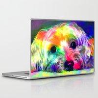 yorkie Laptop & iPad Skins featuring Colorful Yorkie By Annie Zeno  by Annie Zeno