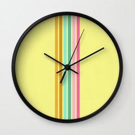 Retro Lines Yellow Green Pink  Wall Clock