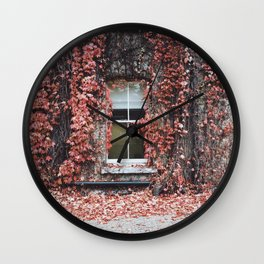 IVY - BUILDING - RED - LEAVES - WINDOW - PHOTOGRAPHY Wall Clock