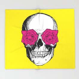 Skull and Roses | Skull and Flowers | Vintage Skull | Yellow and Pink | Throw Blanket