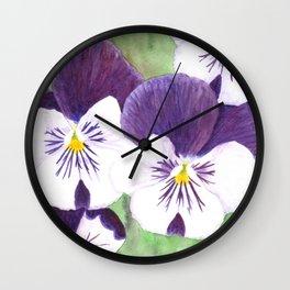 Pansies flowers Wall Clock