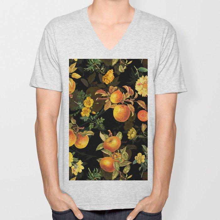 Vintage & Shabby Chic - Midnight Golden Apples Garden Unisex V-Neck