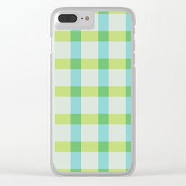 Green Lines Pattern Clear iPhone Case