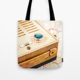 Vintage 1930's radio one of the first handheld on map Tote Bag