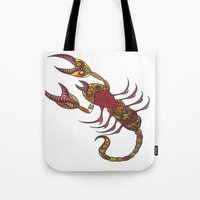 tatoo Tote Bags featuring Tatoo Scorpion by PepperDsArt