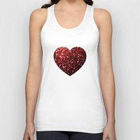 sparkles Tank Tops featuring Red Glitter sparkles Heart  by PLdesign