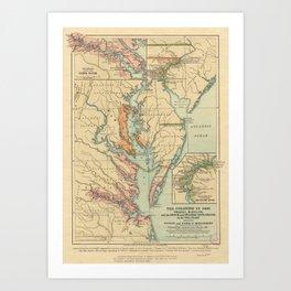 Vintage Virginia and Maryland Colonies Map (1905) Art Print