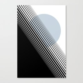 Rising Sun Minimal Japanese Abstract White Black Blue Canvas Print