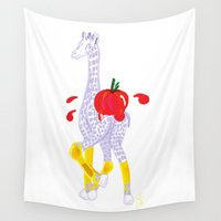 thanksgiving Wall Tapestries featuring Thanksgiving Food Fight Tomatoe - Midas is Ready - Christmas Lavender Giraffe by ANoelleJay