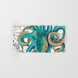 Teal Octopus Tentacles Vintage Map Nautical Hand & Bath Towel