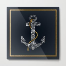 Anchor in Gold and Silver Metal Print