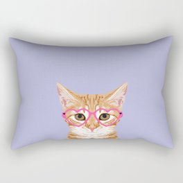 Mackenzie - Orange Tabby Cute Hipster Glasses Kitten Lavender Pastel Girly Retro Cat Art cell phone Rectangular Pillow