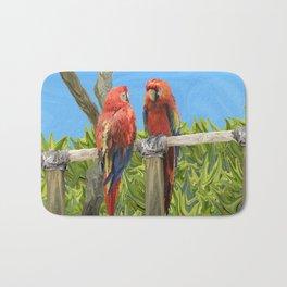 Scarlet Macaw Parrots Perching Bath Mat