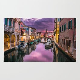 Venice Italy Canal at Night Rug