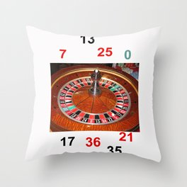 Wooden Roulette wheel casino gaming Throw Pillow