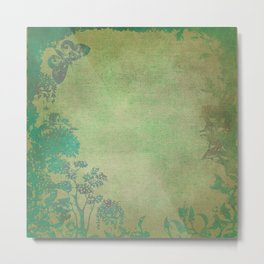 Grunge Garden Canvas Texture:  Green and Teal Butterfly Floral Metal Print