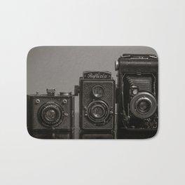 Vintage Cameras - Black Grey Bath Mat