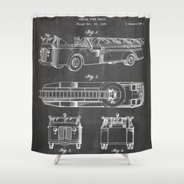 Fire Truck Patent - Aerial Fireman Truck Art - Black Chalkboard Shower Curtain