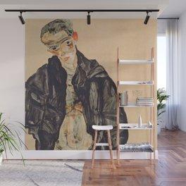 "Egon Schiele ""Selbstbildnis als Halbakt in schwarzer Jacke (Self-portrait in a black jack)"" Wall Mural"