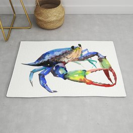Crab, Sea World Rainbow Colors Beach Rug