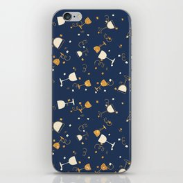 Chic navy blue faux gold glitter party time iPhone Skin