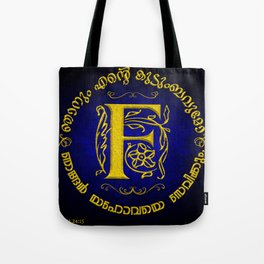 Joshua 24:15 - (Gold on Blue) Monogram F Tote Bag