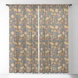 Autumn Folk Art Florals Sheer Curtain