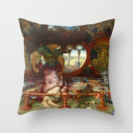 The Lady of Shalott (1905) by Holman Hunt Throw Pillow