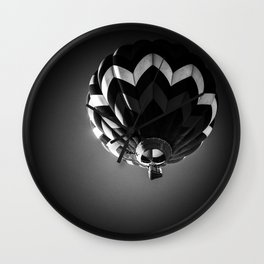 Up a black and white phtograph of a hot air balloon Wall Clock