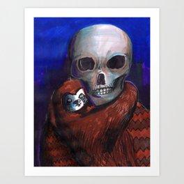 skull and alien Art Print