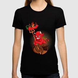 Devil with Hot Chili Pepper Cartoon T-shirt