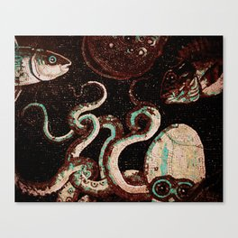 Old Time Octopus Mosaic Canvas Print
