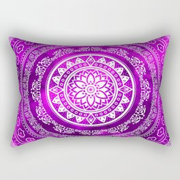 'Purple Destiny' Purple & White Flower Of Life Boho Mandala Design Rectangular Pillow
