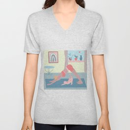 downward dog with a cat Unisex V-Neck