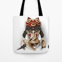 princess mononoke Tote Bags featuring Mononoke by Cristina Valero