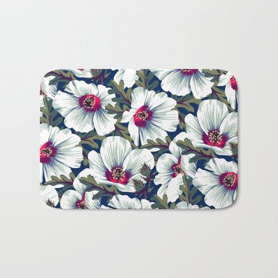 New Zealand Hibiscus Floral Print (Night) Bath Mat