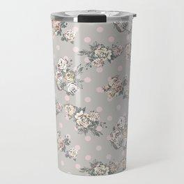 Vintage chic artistic pink ivory polka dots floral Travel Mug