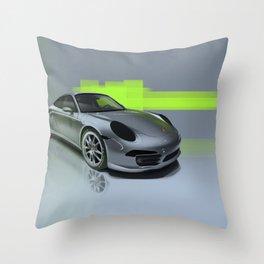 Porsche 911 Digital Painting   Automotive   Car Throw Pillow