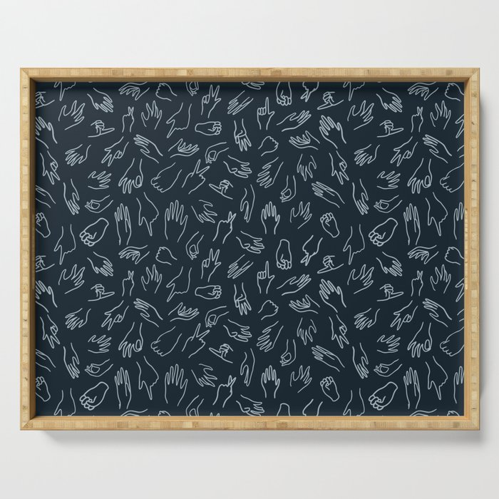Mixed Signals Pattern in Navy Serving Tray