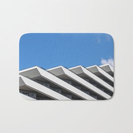 mediterraninan modernism - white concrete architecture and blue sky Bath Mat