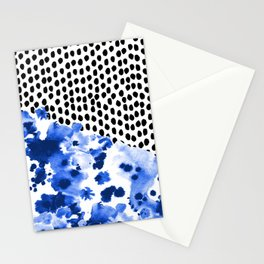 Monroe - India ink, indigo, dots, spots, print pattern, surface design Stationery Cards