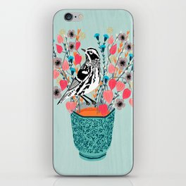 Tea and Flowers - Black and White Warbler by Andrea Lauren iPhone Skin