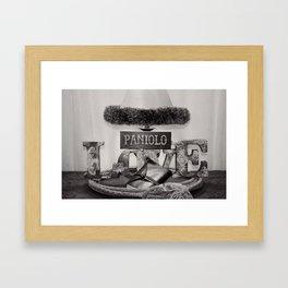 Paniolo Love in Black and White Framed Art Print