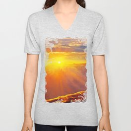 Sunlight waterfall Unisex V-Neck