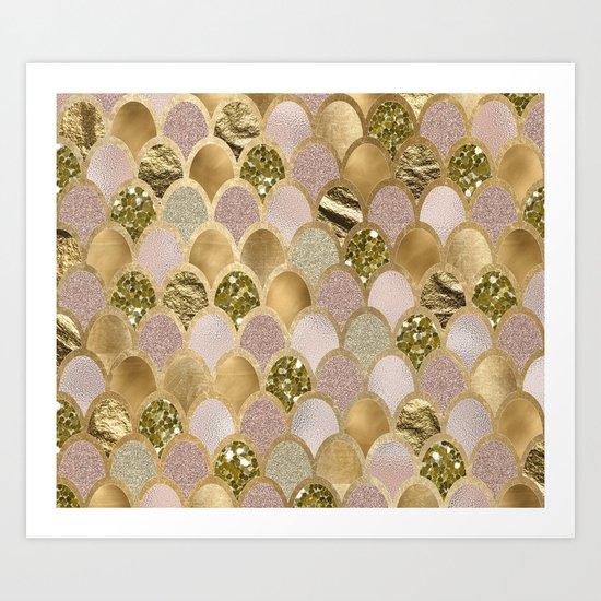Rose gold glittering mermaid scales Art Print