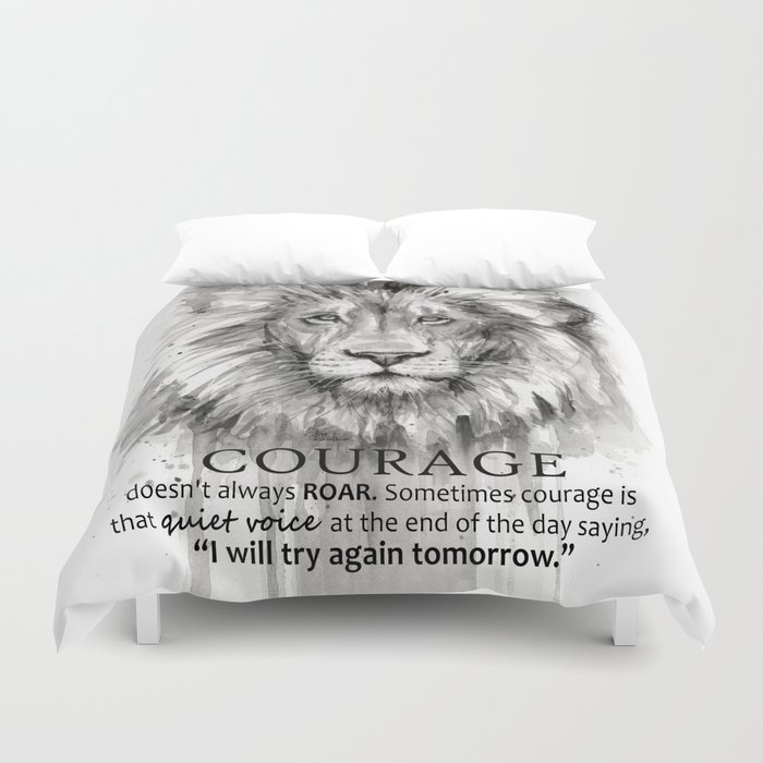 Lion Courage Motivational Quote Watercolor Painting Bettbezug