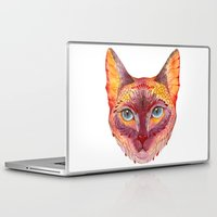 cat coquillette Laptop & iPad Skins featuring cat by Ola Liola