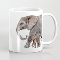 elephants Mugs featuring Elephants by Goosi